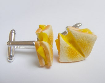 Food Jewelry, Grilled Cheese Cufflinks, Mens Cufflinks, Miniature Food Mini Food Handmade Jewelry Cheese on Toast Cuff links, Food Cufflinks