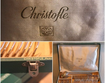 Christofle silverplate set 37 pieces, Christofle America, Christofle spoons, forks, Christofle silverware, Vintage Christofle cutlery