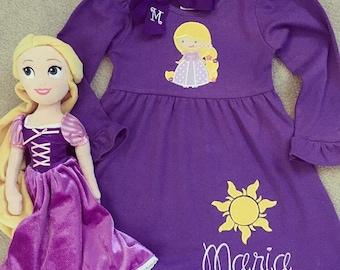 Rapunzel cotton knit dress short sleeve or long sleeve