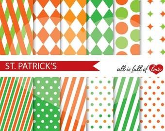 St Patricks Paper Orange Green Digital Paper SHAMROCK Digital Background Irish Graphics St Paddy's Digital Pattern