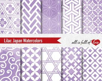 Lilac Watercolor Background Japan Digital Paper Seamless Patterns Violet Digital Paper Pack Baby Shower Graphics Baptism