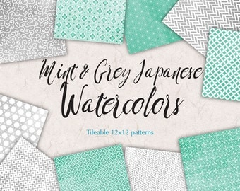 Digital Paper Mint and Grey Watercolor Patterns Japanese Graphics to Print Clipart Wedding Papers Grey Mint Background
