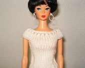 Handmade clothes, Hand knitted Barbie White sleeveless top, sweater D213