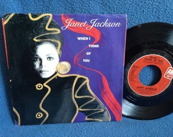 "Vintage, Janet Jackson - ""When I Think Of You / Pretty Boy"", Vinyl 7"", 45 RPM Record Album, Original 1986 Press, Control, Funk, R&B Diva"