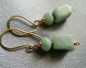 Gemstone earrings, Genuine Amazonite in gold fill, handcrafted (#1397)