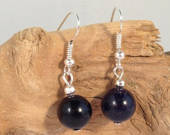 BLUE GOLDSTONE Round 10mm Natural Stone EARRINGS on Nickelfree Hooks
