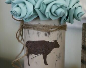 Farmhouse Cow Mason Jar with Mint Flowers Bouquet. Farmhouse Decor, Wedding Decor