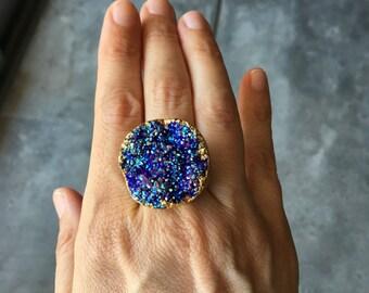 Druzy Statement Ring, Boho style