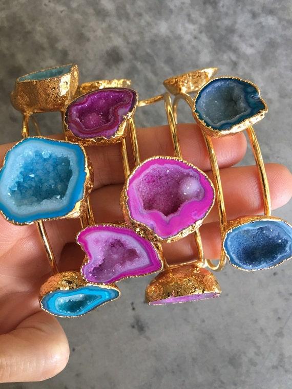 Druzy Bracelets, boho jewelry , geode bracelets