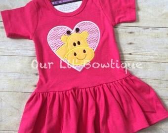 Baby Girl Valentine Outfit Valentine Shirt - Family Photos - Valentine Outfit - Giraffe -  Dress - Valentine Dress