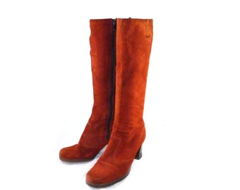 Rust / orange suede / genuine leather high boots / riding / fashion side zip ladies 7 7.5 1970s hippie boho