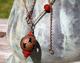 Exotic Antiqued Copper & Red Agate Necklace