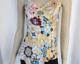 TARA JARMON Mod and Groovy flower power wrap silk cami/ pink turquoise and brown floral: size Fr 40- fits US 8