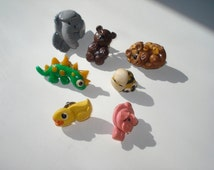 Vintage Fimo Animal Brooches - 7 Cute Colourful Clay  -   Pins Lot 1990s