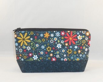 Zipper Pouch Made With Dark Blue Floral Fabric