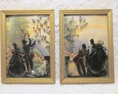 Silhouette reverse painting picture bubble convex glass Victorian man woman romance country mountain scene pair