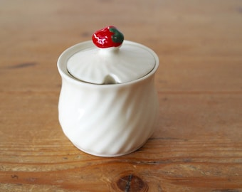 China Sugar Bowl - Strawberry Jam Pot - Condiment Pot