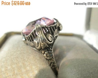 ON SALE Fancy Art Deco Faceted Pink Quartz Ring, 1920's Sterling Silver, Fabulous Engagement Ring, Sz 5