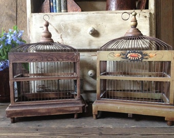 French Wire Wood Birdcage Handpainted Country Farmhouse 2 Available