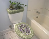 Set of 2 Crochet Covers for Toilet Seat & Tank Lid, Cozies - Fresh Lilac/Frosty Green (TSTTL4H)