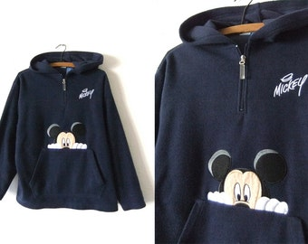 Mickey Mouse Pullover Fleece Sweatshirt - Disney 90s Vintage Sporty Fleece Hoodie - Mens Medium