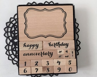 Special Occasion Stamp Set / Birthday, Anniversary Stamps Mounted, NEW for TAGS, Cards, Journals, Altered ARt, MIxed Media, Scrapbooking