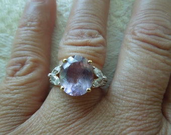 Vintage Costume Ring, Gold Toned Metal, Large Purple Stone with Clear Rhinestones, Stamped, Size 7.5