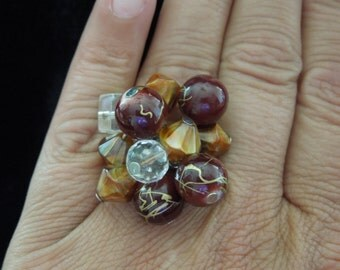 Vintage Costume Ring, Brown Beads and Clear Rhinestones, Size 6.5, Flexible