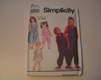 Vintage Simplicity 7184 easy sew Girl Jumpsuit and Jumper Sundress each in two lengths Top