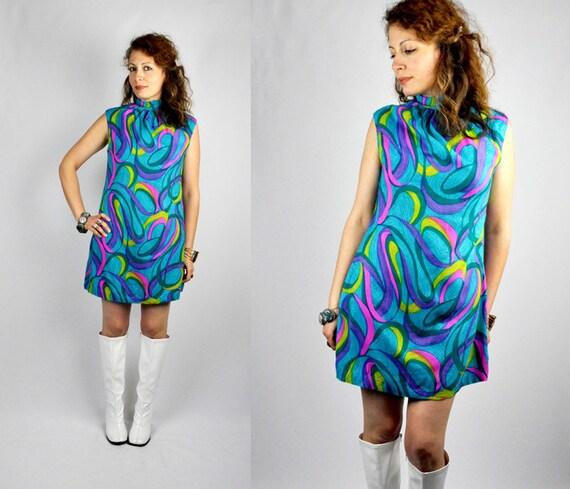 60s MINI Dress Neon OP ART Dress Lolita Dress Baby Doll Dress