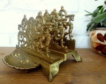 Ornate Brass Letter, Mail Holder/Desk Organizer