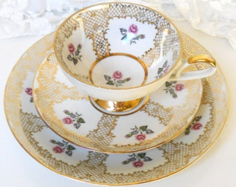 RESERVED  for WHITNEY : 5 vintage tea cup trio's  german porcelain