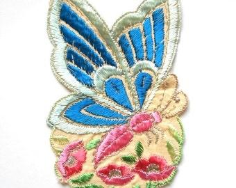 1930's silk applique butterfly art nouveau applique antique applique butterfly applique vintage applique needlework