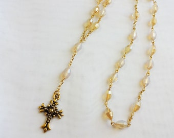 Rosary Beads - Anglican Prayer Beads - Champagne And Gold - Free Shipping