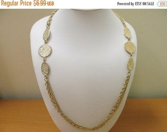 ON SALE Vintage Chain and Textured Station Necklace Item K # 1027