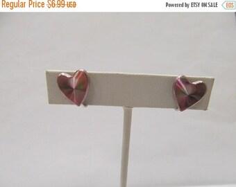 ON SALE Vintage Pink Prism Heart Earrings Item K # 1140