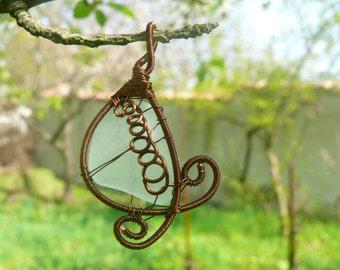 Wire wrapped pendant, sea glass pendant, genuine sea glass jewelry, spiral genuine sea glass,Birthday gift, beach stone pendant, copper wire