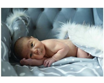 Organic Cotton Sateen Baby Blanket with Faux Husky Fur Back