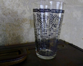 Vintage Pint Glass, Bar Glass with Cocktail Recipes, Mixed Drink Guide Pint Glass, Classic Cocktails Beer Glass