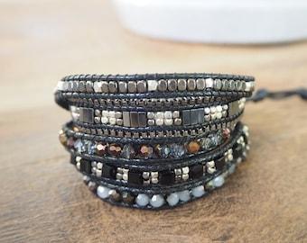 5 time black crystal,freshwater pearl wrap bracelet.