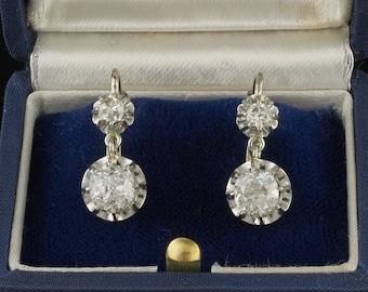 Superb Art Deco 2,60 Ct old cut diamond platinum drop earrings