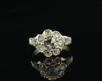 Victorian exquisite dutch rose cut diamond rare daisy ring