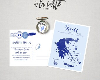 Destination wedding save the date postcard invitation Greece Map Greek Island Amogros, any other venue Paros Naxos Rhodes Crete Santorini