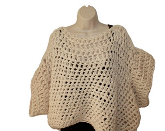 Plus Clothing, Oversized Sweater, Plus Size Sweater, Chunky Sweater, Womans Top, Bulky Sweater, Crochet Top, Wool Sweater, Chunky Jumper
