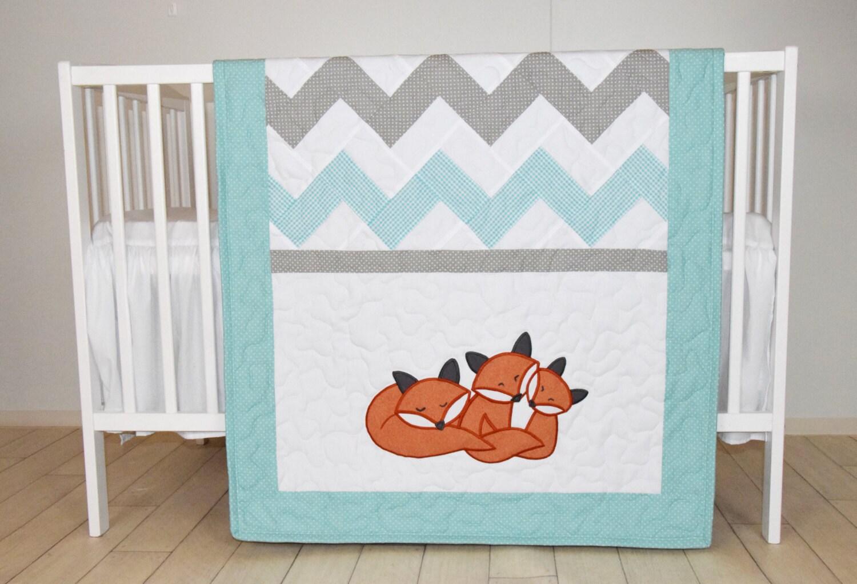 Fox Blanket Chevron Sleeping Foxy Patchwork Quilt Crib