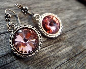 SALE Earrings Rose Pink Swarovski Crystal Rivolis in Silvertone settings Leverback