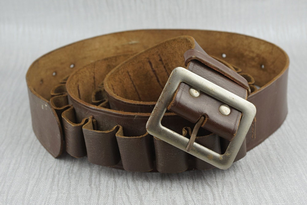 vintage brown leather bullet ammo cartridge belt with metal
