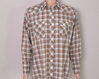 Vintage 1960s 60s H Bar C Western Plaid Shirt Large