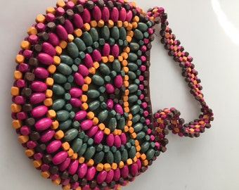 1960s Vintage Wooden Handbag WOODEN Beaded BAG Hippie Handbag Movie Prop Beaded Handbag Colorful Beaded Bag