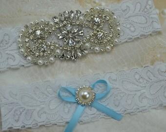 Bridal Garter, Wedding Garter Set, White Stretch Lace, Vintage  Garters, Rhinestone and  Pearl garters